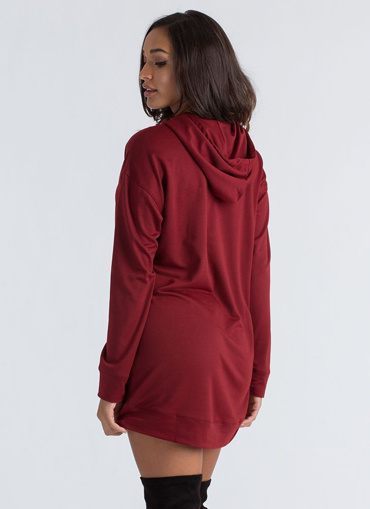 Cut That Out Hooded Sweatshirt Dress BURGUNDY