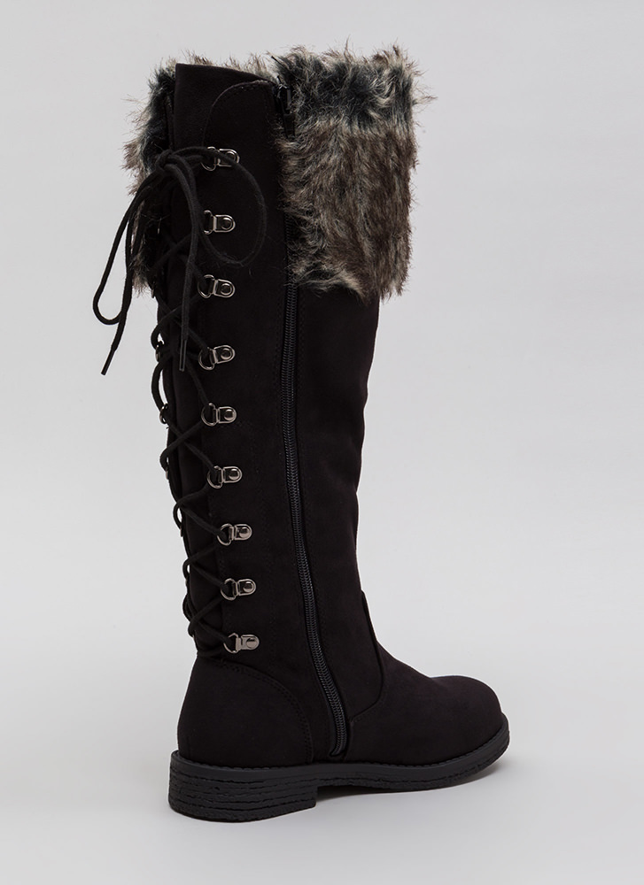 Cuff Love Faux Fur Lace-Back Boots BLACKMULTI