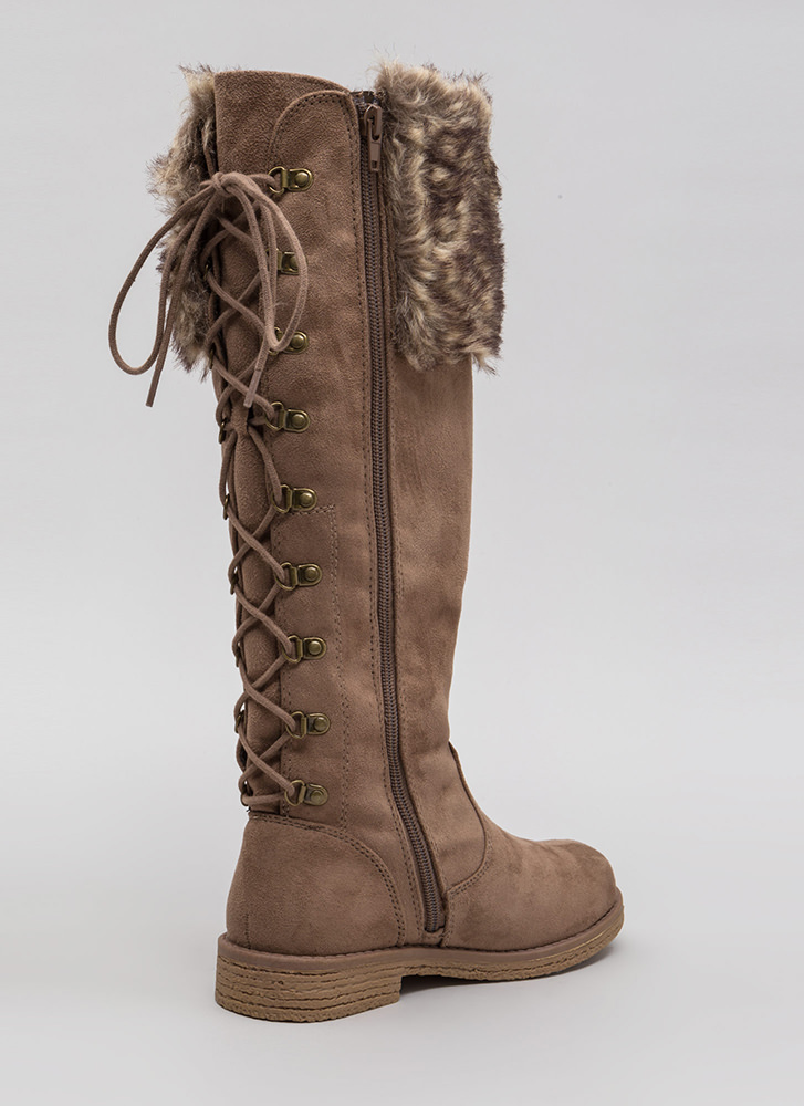 Cuff Customer Faux Fur Lace-Back Boots TAUPE