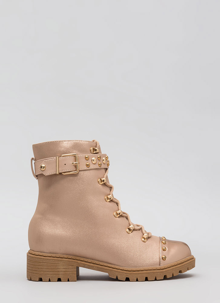 Moto Stud Lace-Up Combat Boots ROSEGOLD