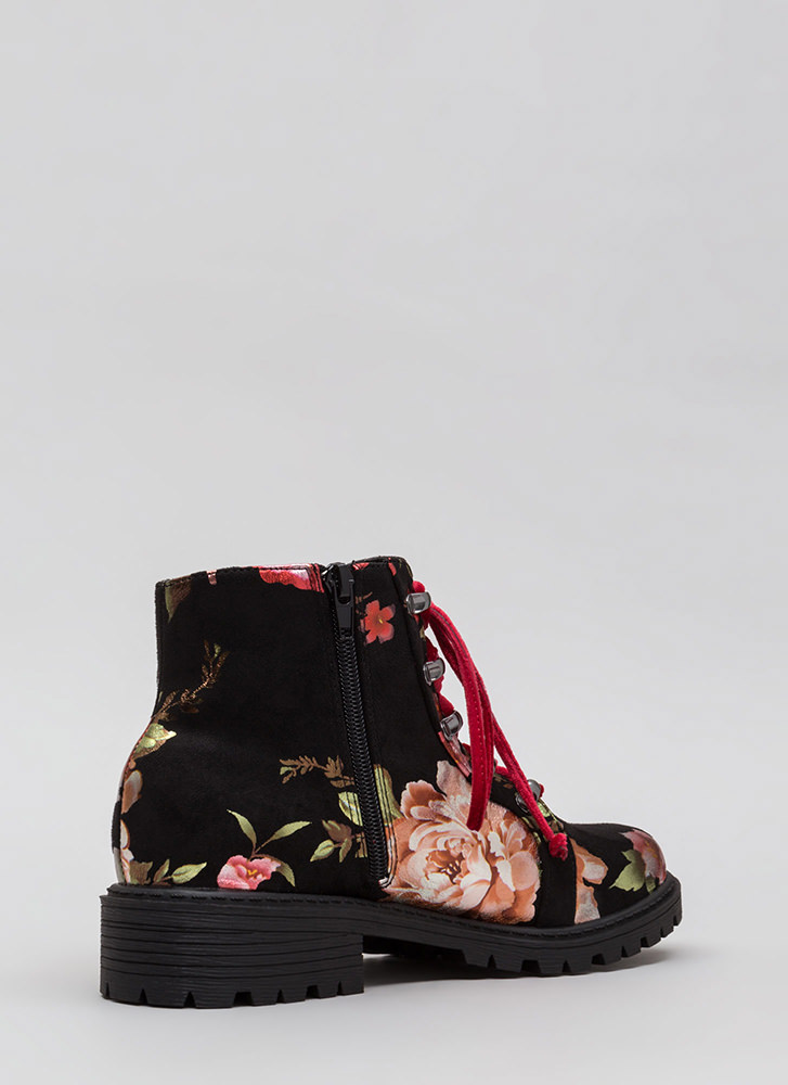 Short Supply Floral Combat Boots BLACK
