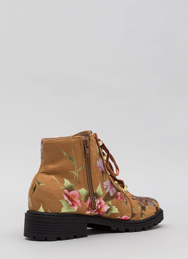 Short Supply Floral Combat Boots CAMEL