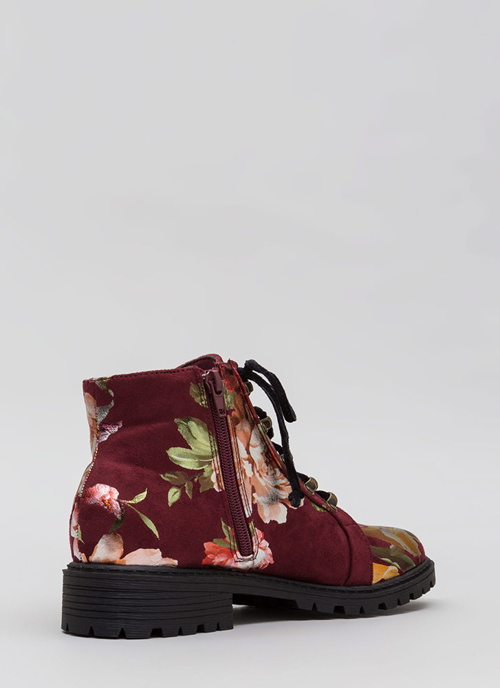 Short Supply Floral Combat Boots WINE
