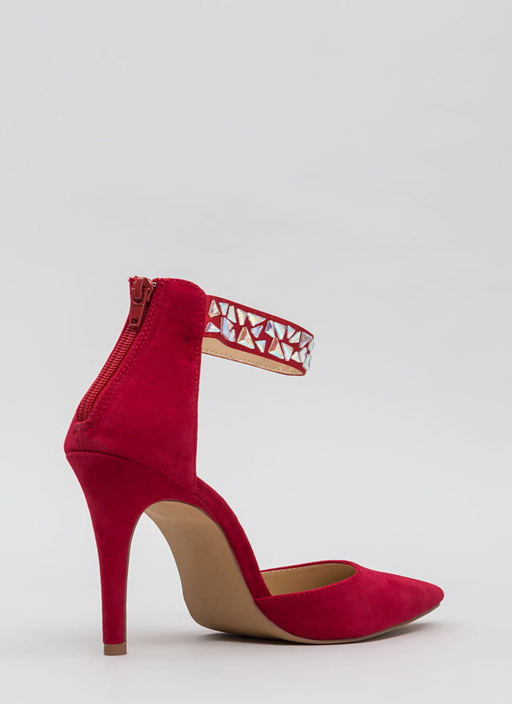 Precious Gems Pointy Ankle Strap Heels RED