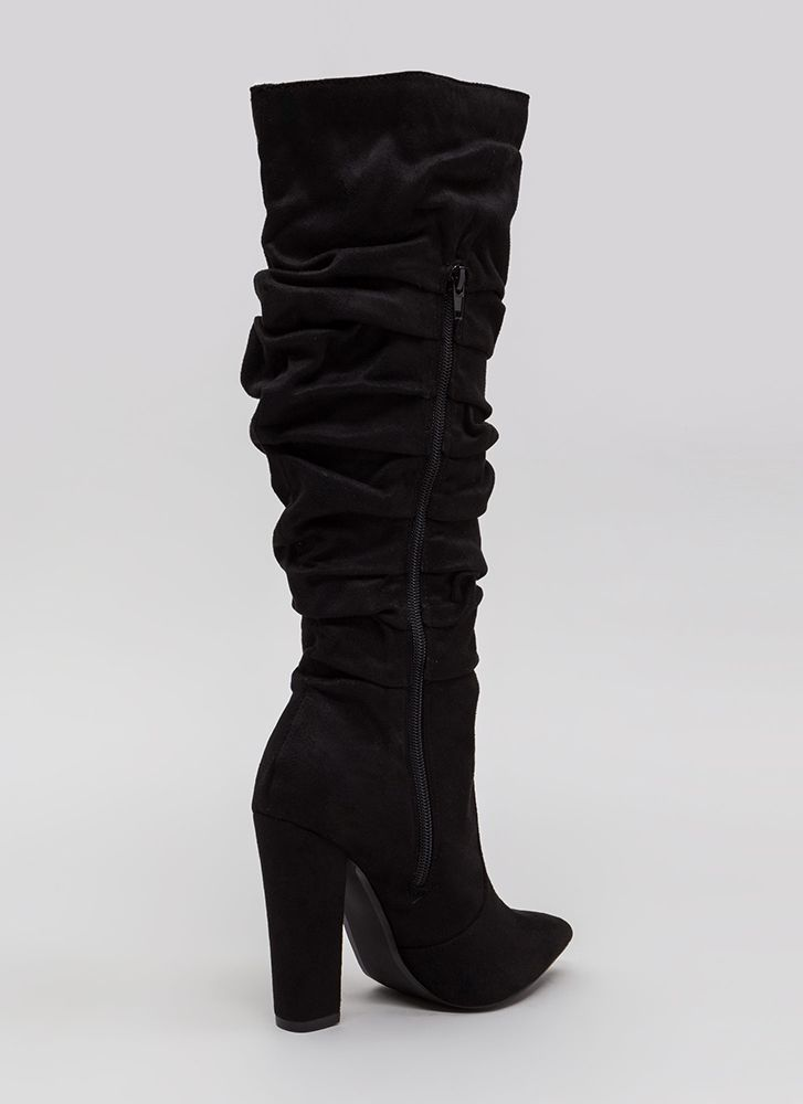 Learn To Slouch Chunky Pointy Boots BLACK