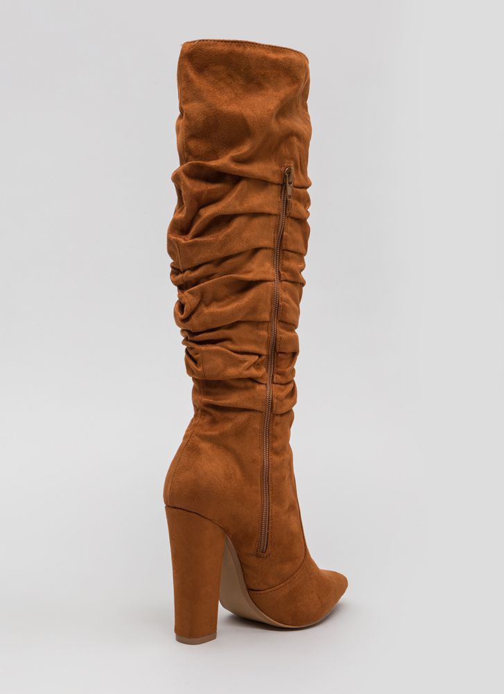 Learn To Slouch Chunky Pointy Boots CHESTNUT