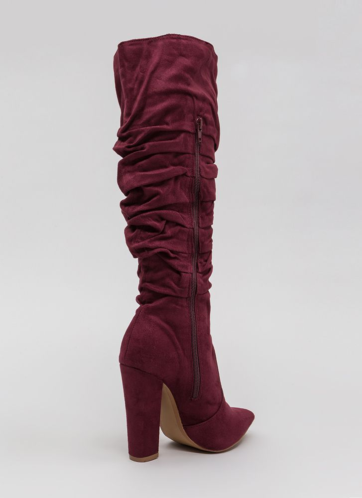 Learn To Slouch Chunky Pointy Boots WINE