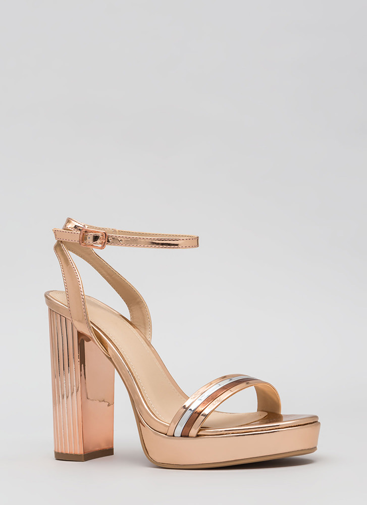 Pillar Heels Shiny Strappy Platforms ROSEGOLD