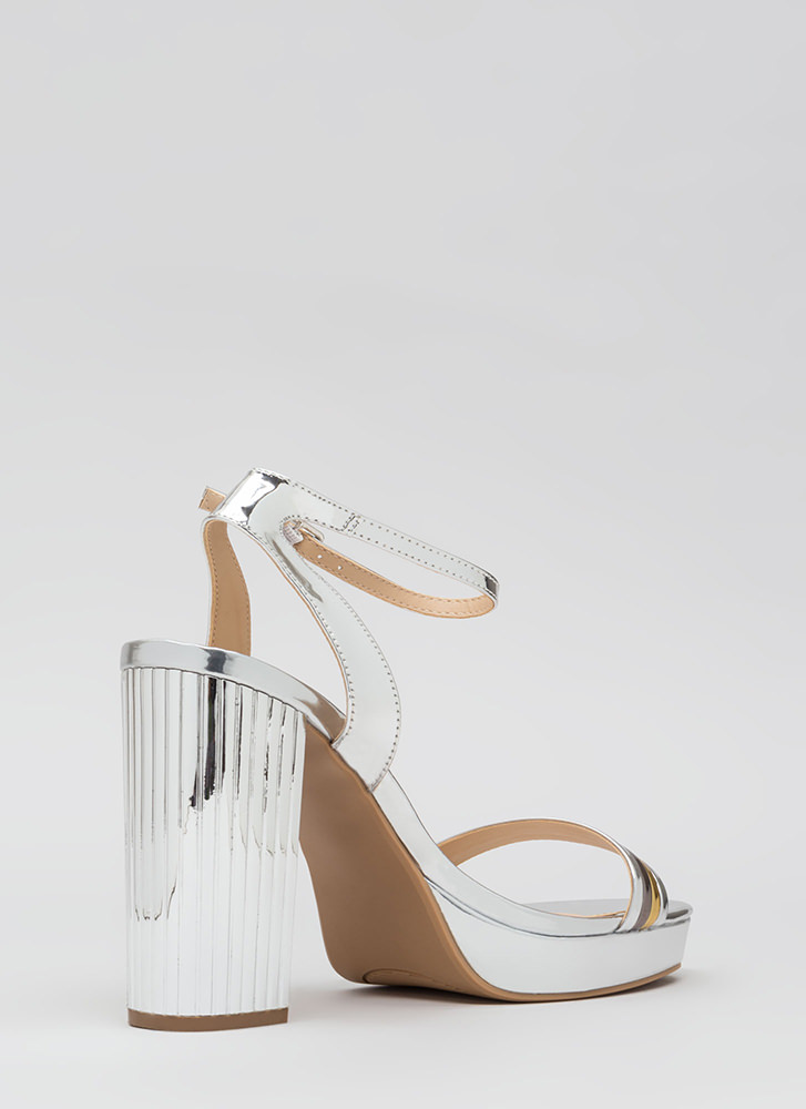 Pillar Heels Shiny Strappy Platforms SILVER