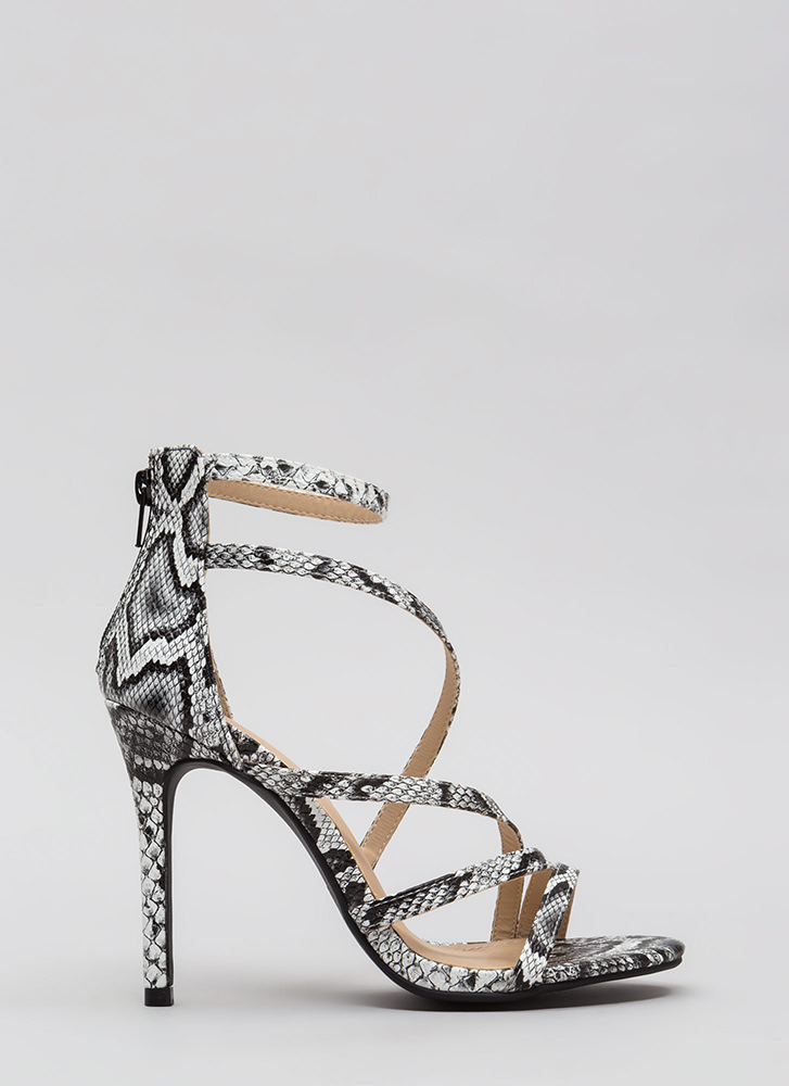 Let's Snake On It Strappy Scaled Heels BLACK