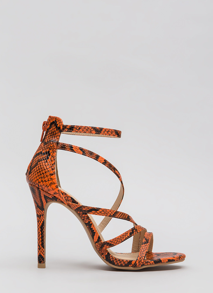 Let's Snake On It Strappy Scaled Heels ORANGE