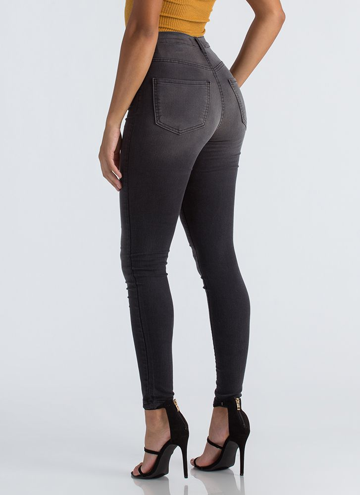 Everyday Wear High-Waisted Skinny Jeans BLACK