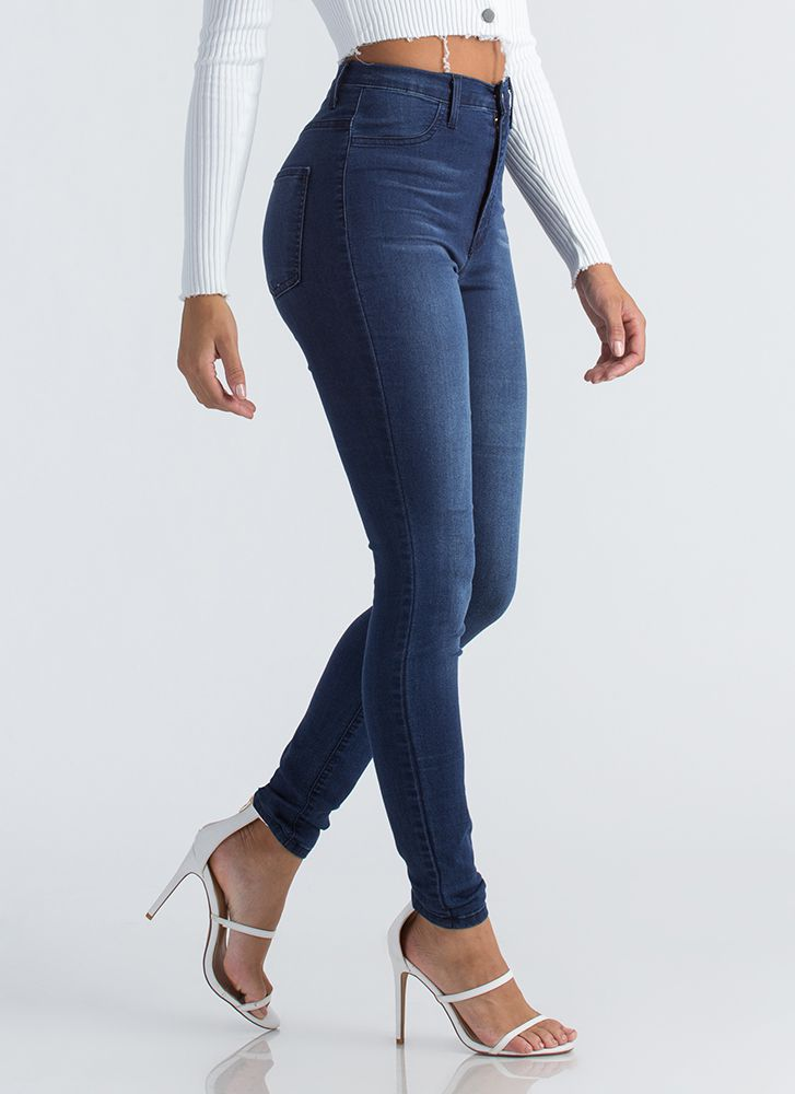 Everyday Wear High-Waisted Skinny Jeans DKBLUE