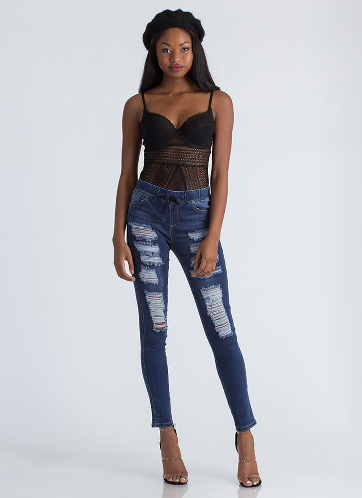 I'm Sheer Cut-Out Lace And Mesh Bodysuit BLACK