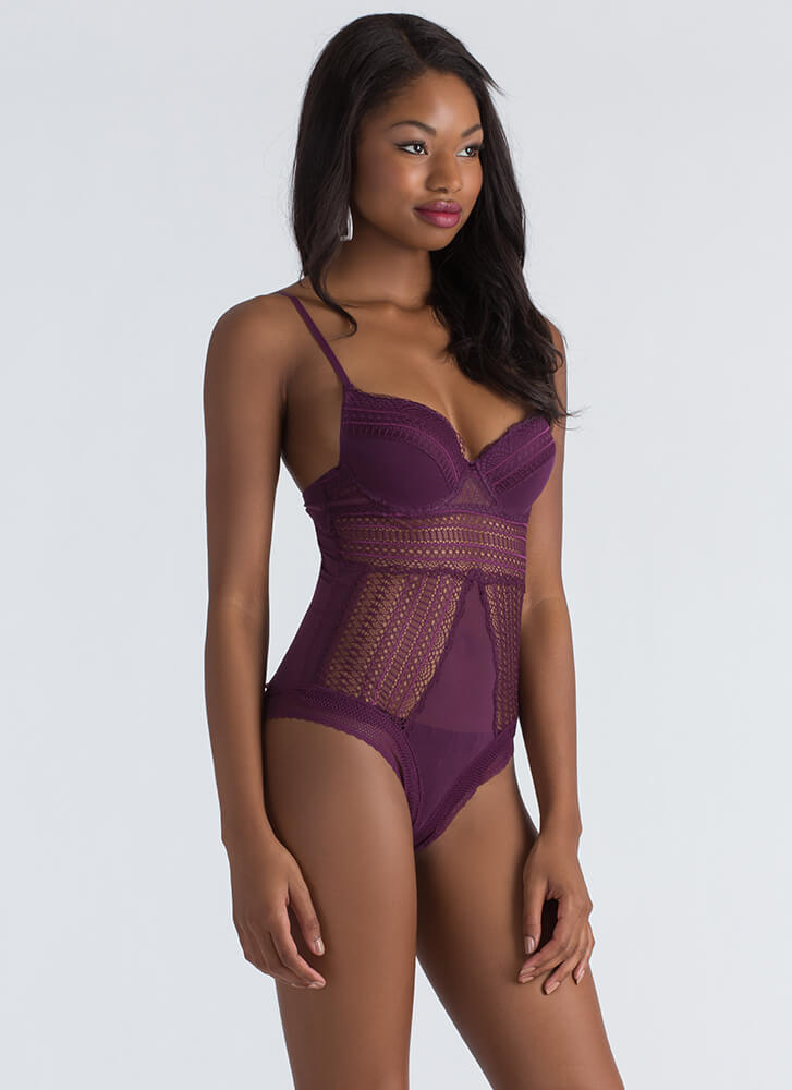 I'm Sheer Cut-Out Lace And Mesh Bodysuit PLUM