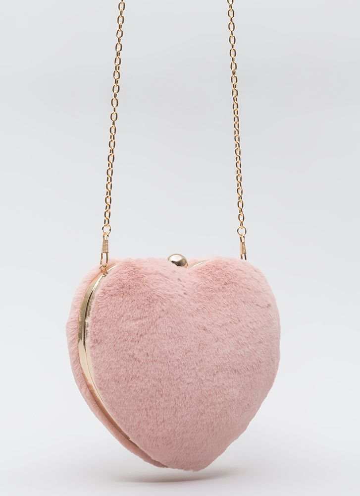 Heart To Miss Faux Fur Box Clutch PINK