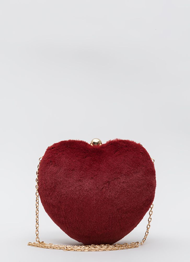 Heart To Miss Faux Fur Box Clutch RED