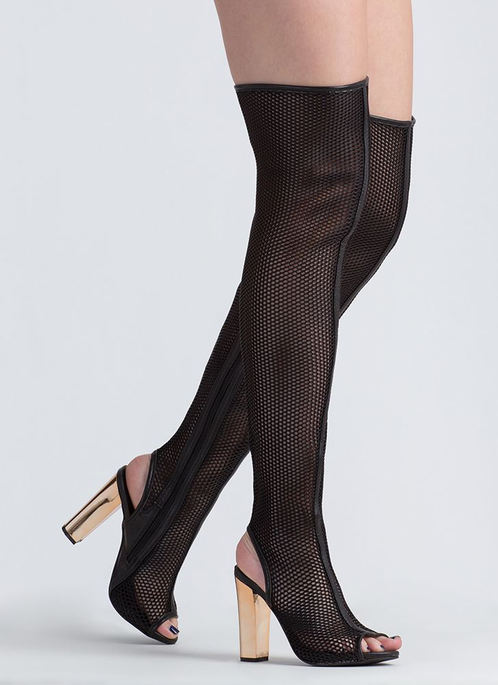 In The Spotlight Netted Thigh-High Boots BLACK