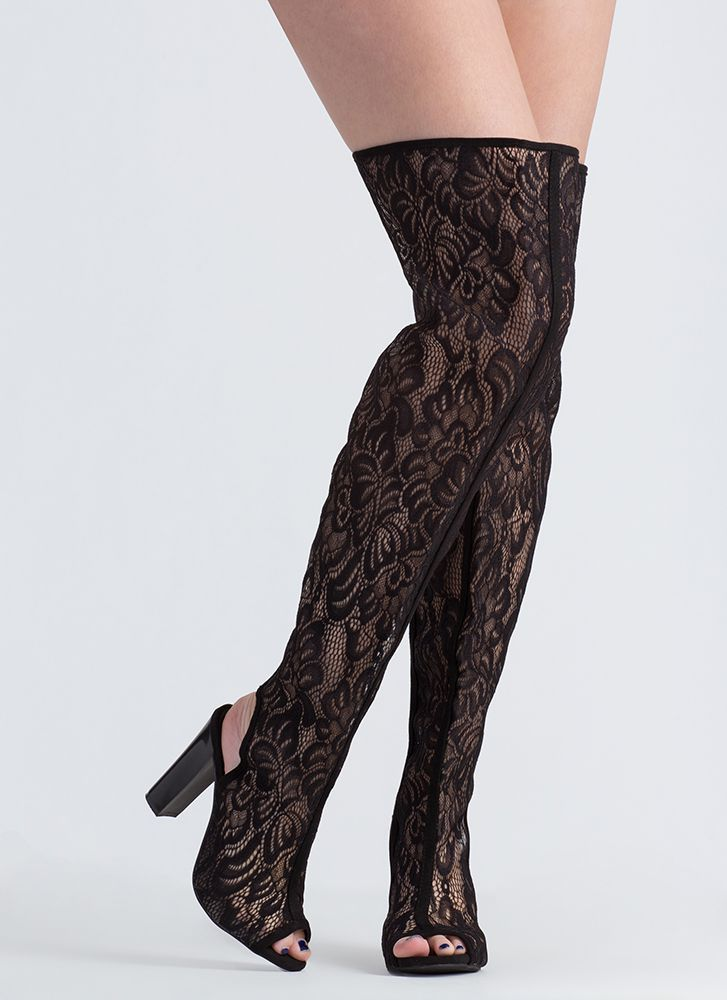 In The Spotlight Lace Thigh-High Boots BLACK