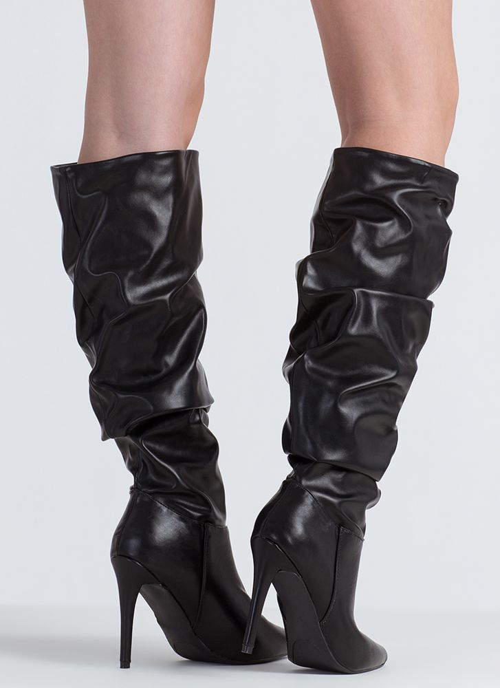 Dedicated To You Pointy Slouchy Boots BLACK