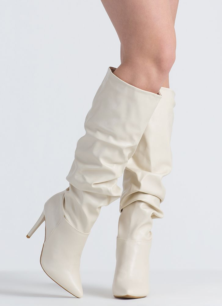Dedicated To You Pointy Slouchy Boots IVORY