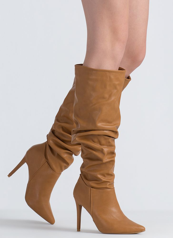 Dedicated To You Pointy Slouchy Boots TAN