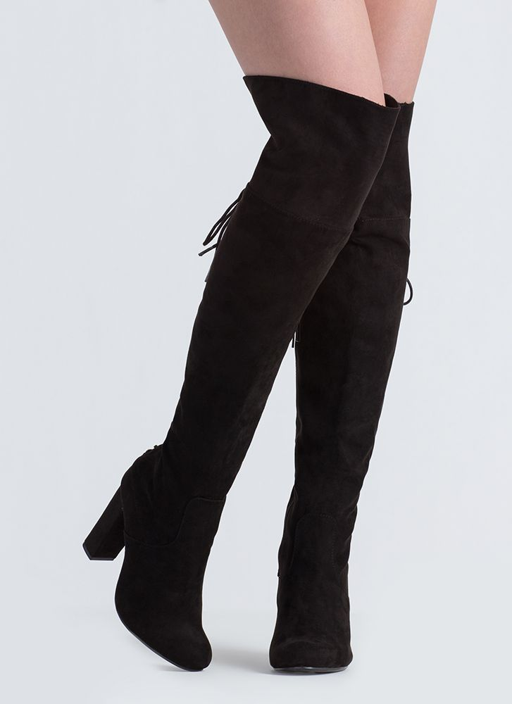 Living Legend Lace-Back Thigh-High Boots BLACK