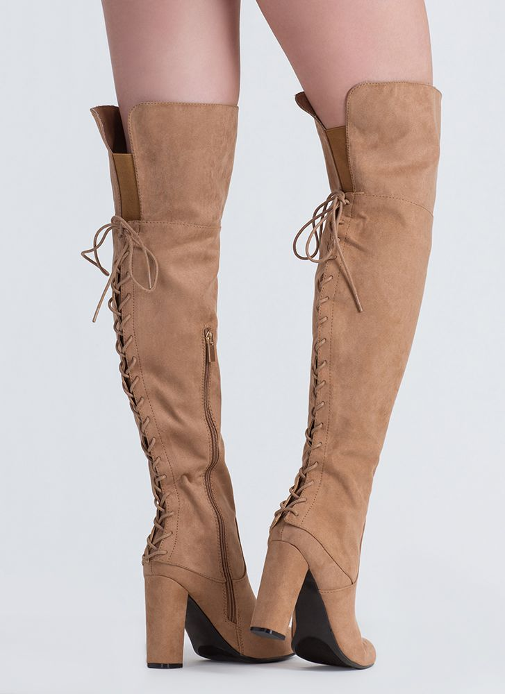 Living Legend Lace-Back Thigh-High Boots CAMEL