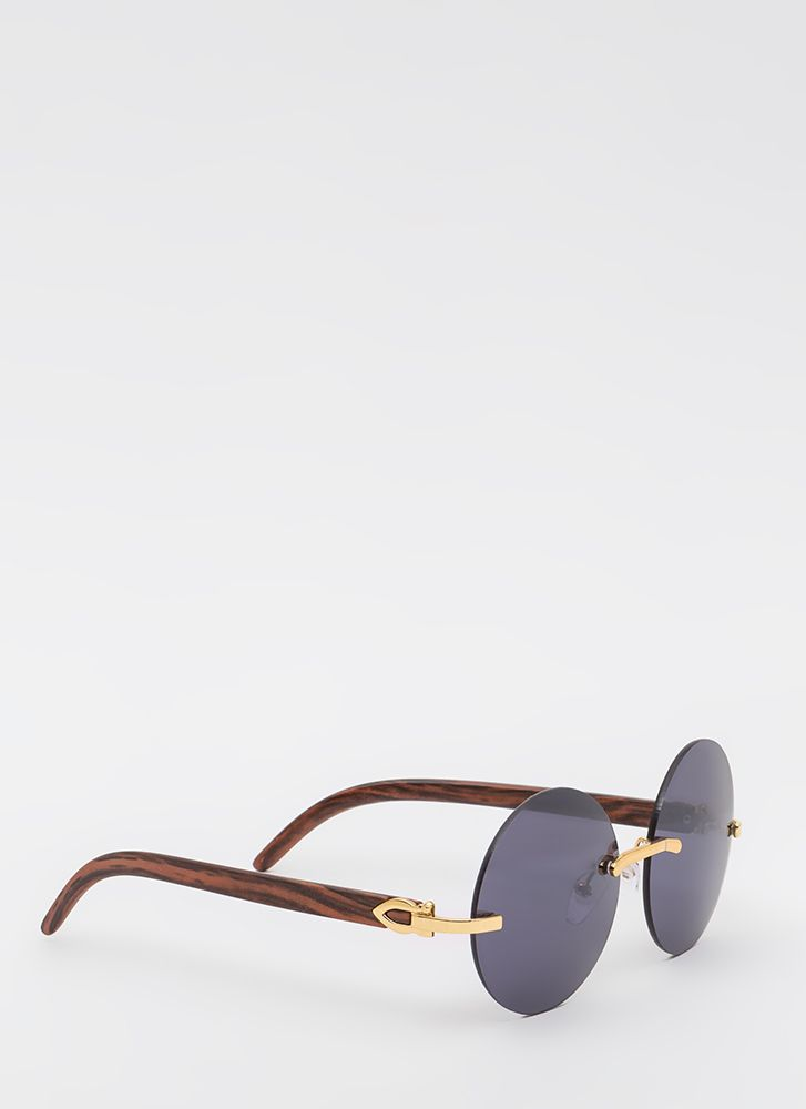 What Wood You Do Round Sunglasses BROWNGOLD