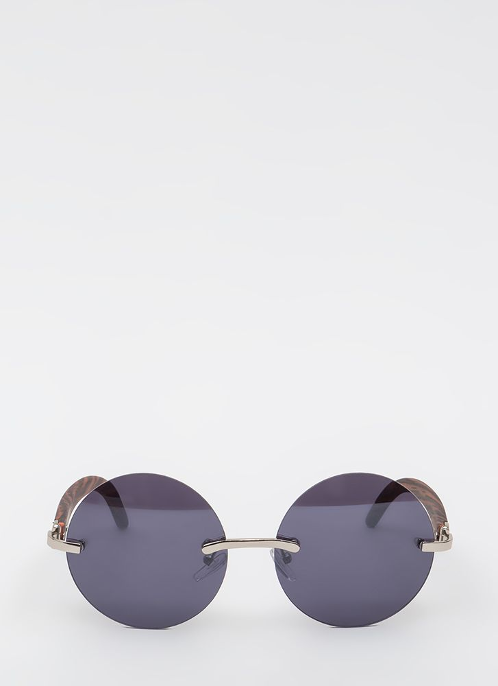 What Wood You Do Round Sunglasses BROWNSILVER