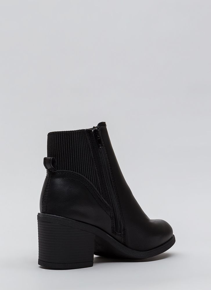 Ribbed For Your Pleasure Block Booties BLACK