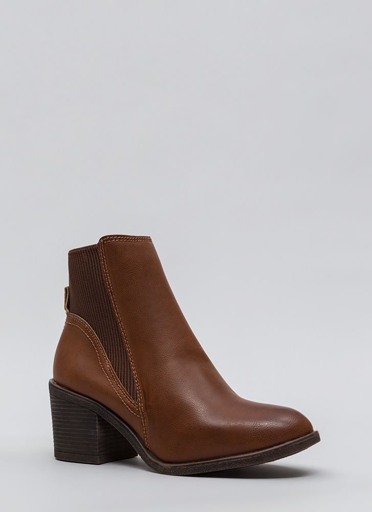 Ribbed For Your Pleasure Block Booties CHESTNUT