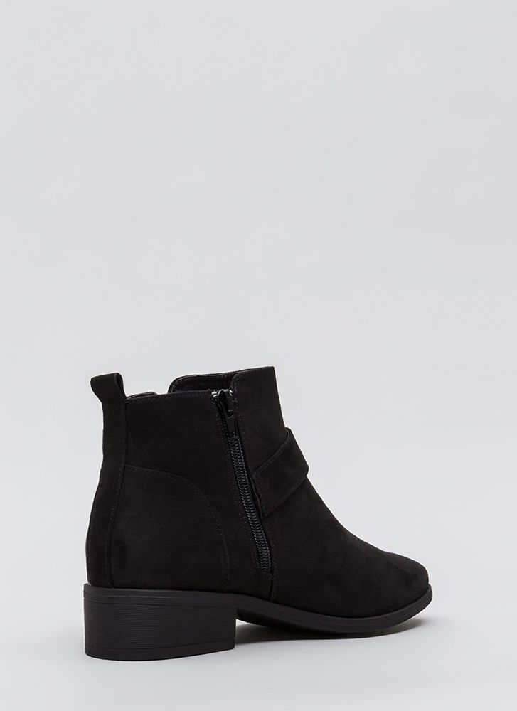 Make A Play Buckled Strap Booties BLACK