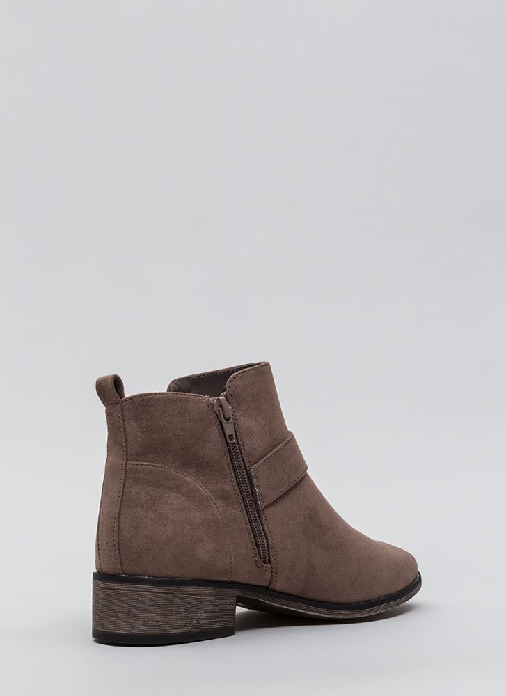 Make A Play Buckled Strap Booties TAUPE