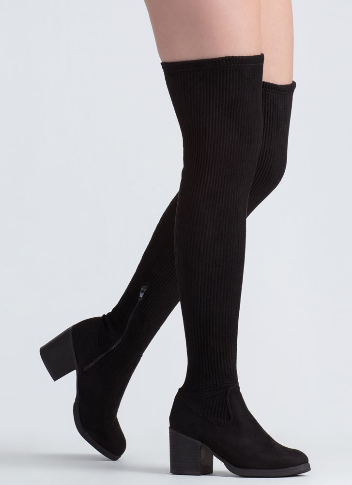 If You Pleats Ribbed Thigh-High Boots BLACK