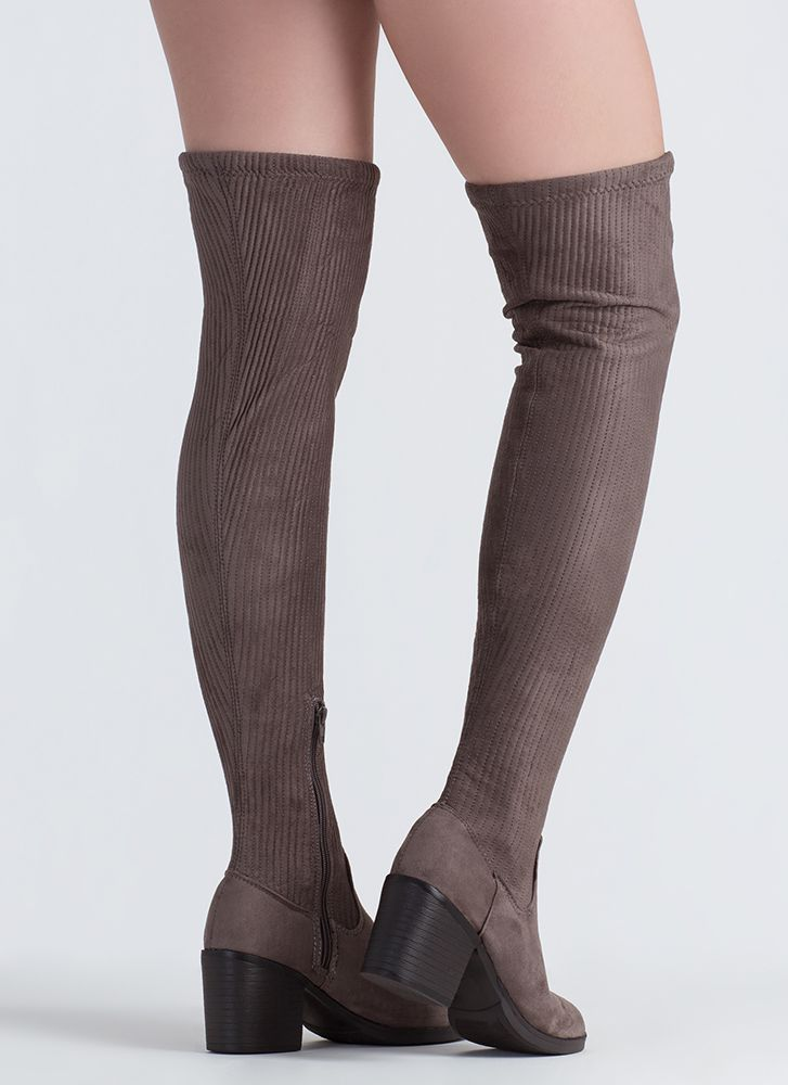 If You Pleats Ribbed Thigh-High Boots GREY
