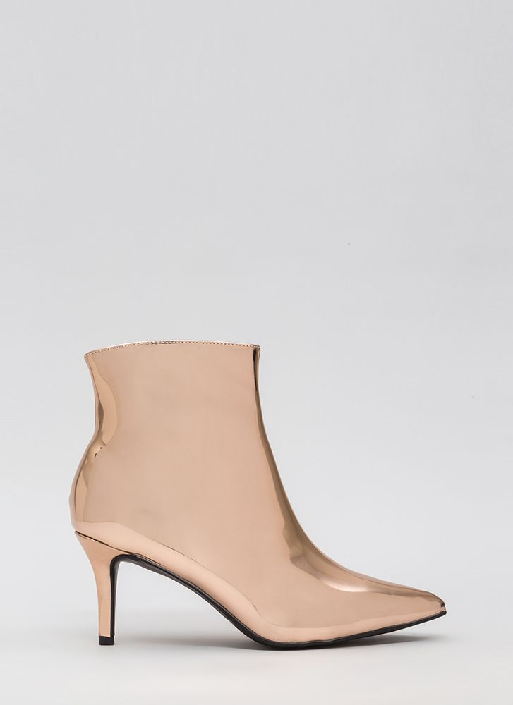 I'll Prevail Pointy Metallic Booties ROSEGOLD (Final Sale)