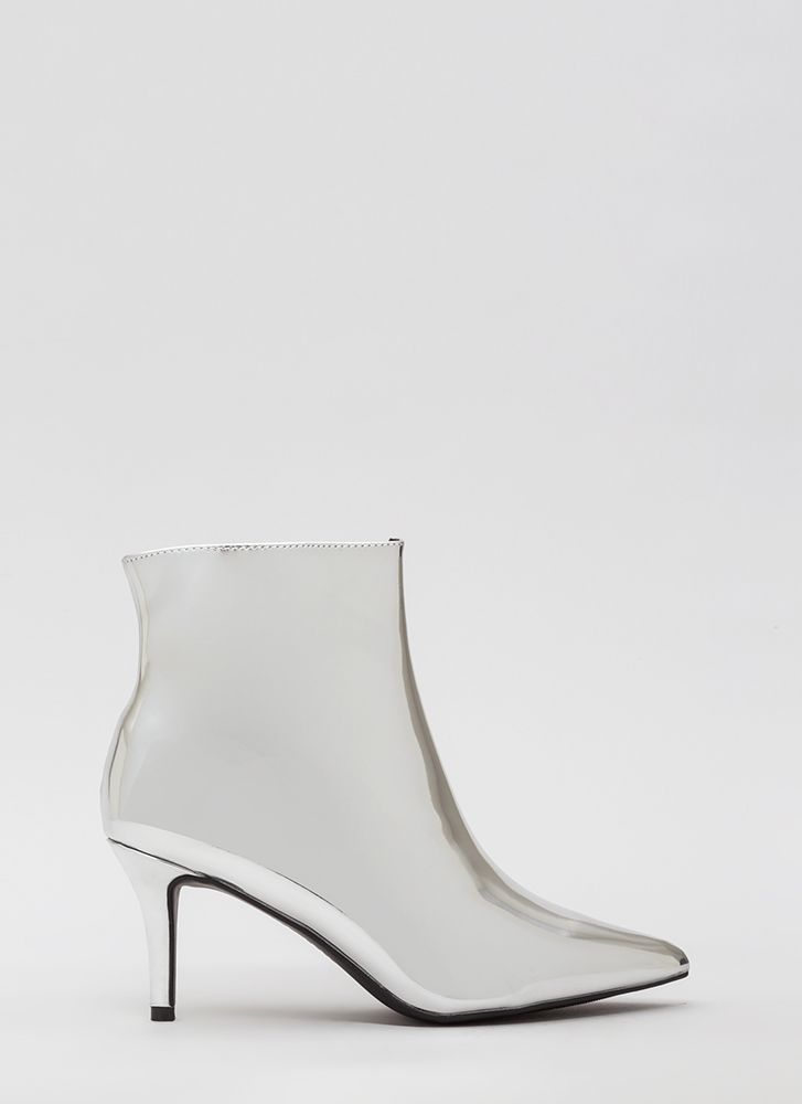 I'll Prevail Pointy Metallic Booties SILVER (Final Sale)