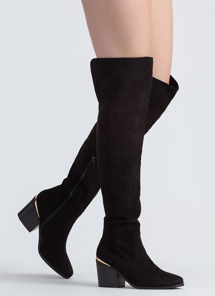 Around The Block Heel Thigh-High Boots BLACK