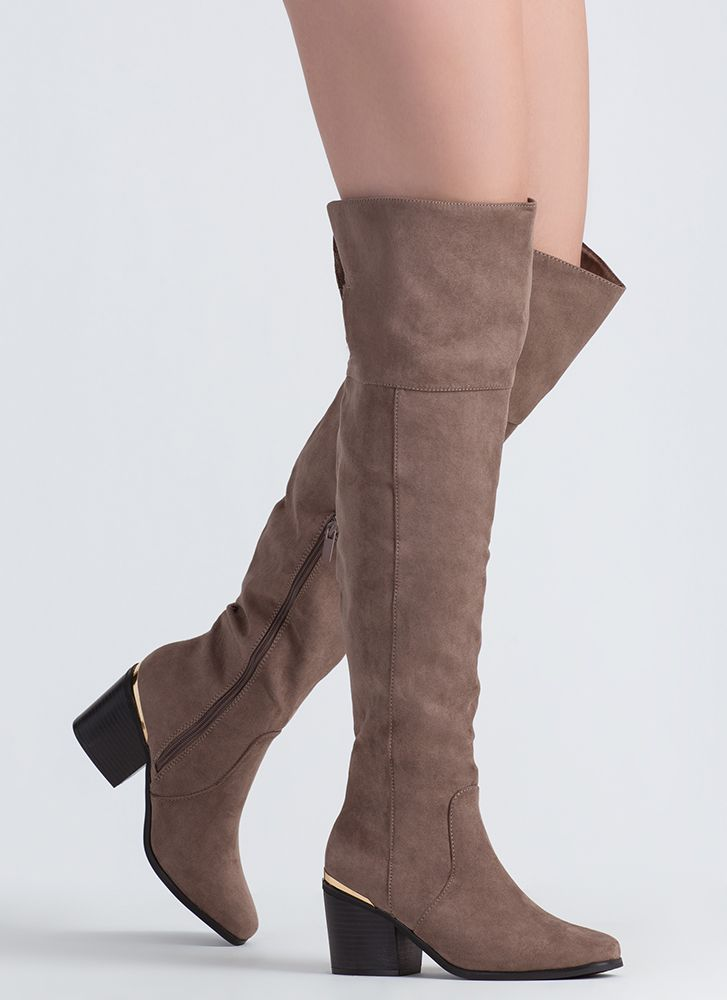 Around The Block Heel Thigh-High Boots TAUPE
