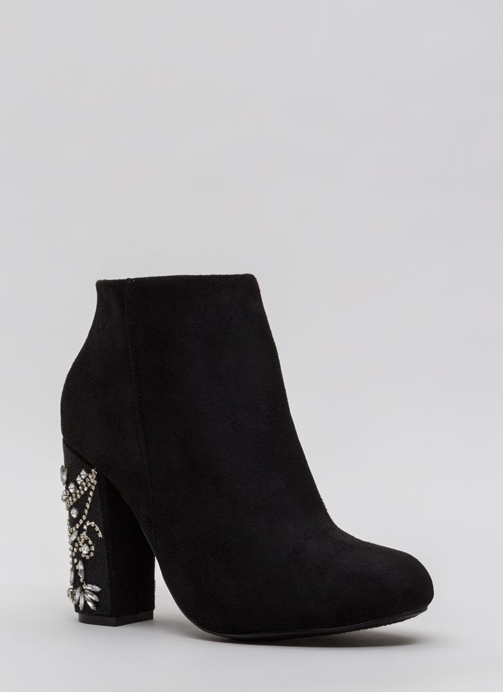 Background Scenery Jeweled Booties BLACK