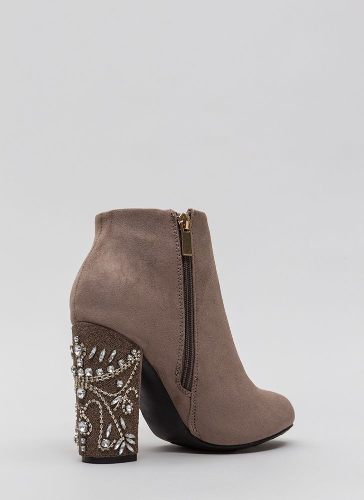 Background Scenery Jeweled Booties TAUPE