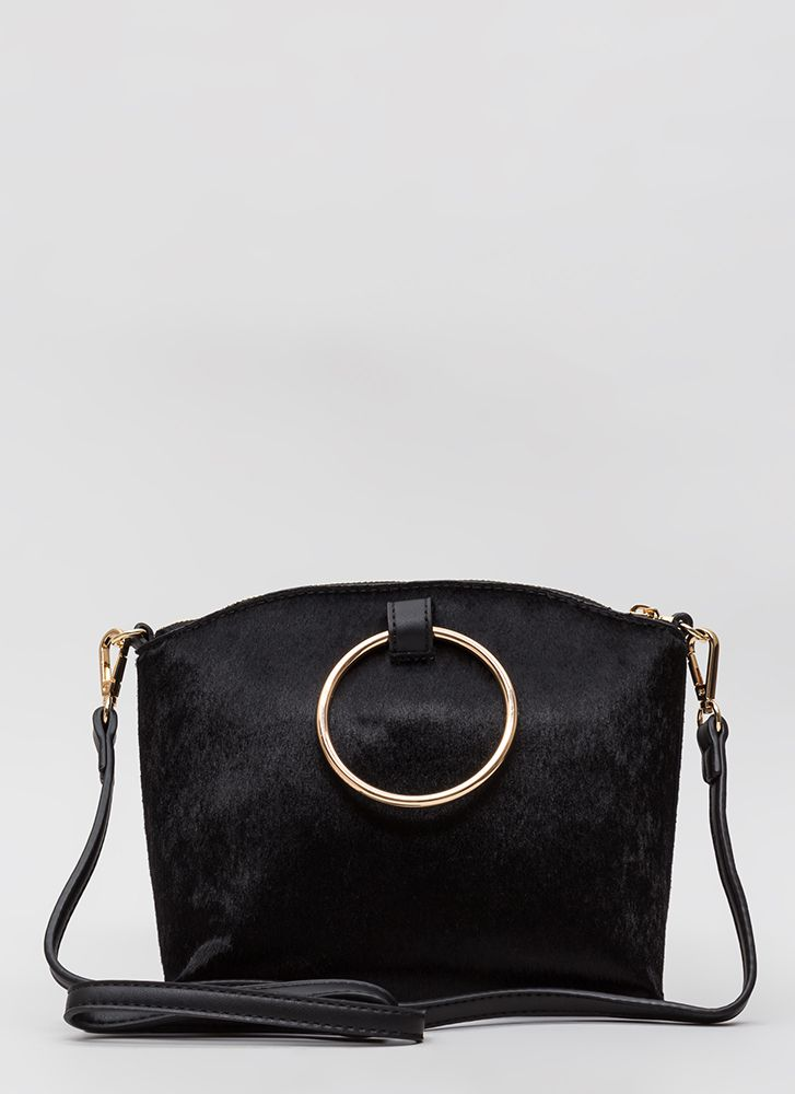 Gimme A Ring Faux Pony Handbag BLACK