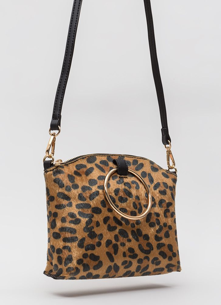 Gimme A Ring Faux Pony Handbag LEOPARD