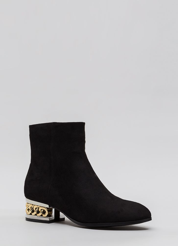 Aboard The Hype Chain Faux Suede Booties BLACK