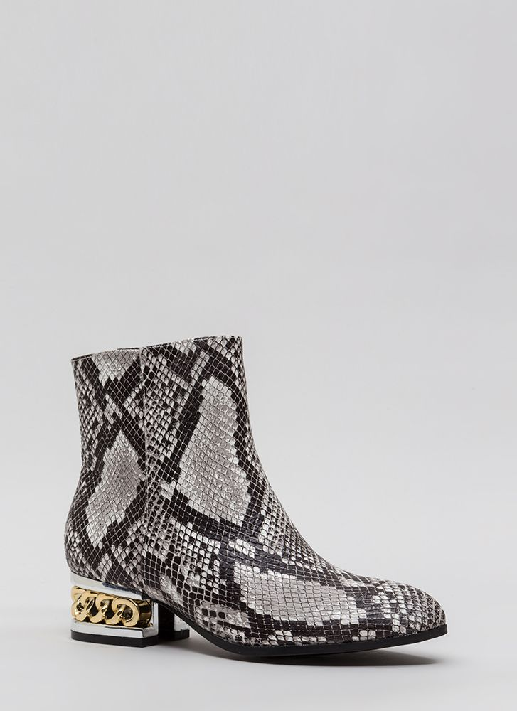 Aboard The Hype Chain Faux Snake Booties BLACK