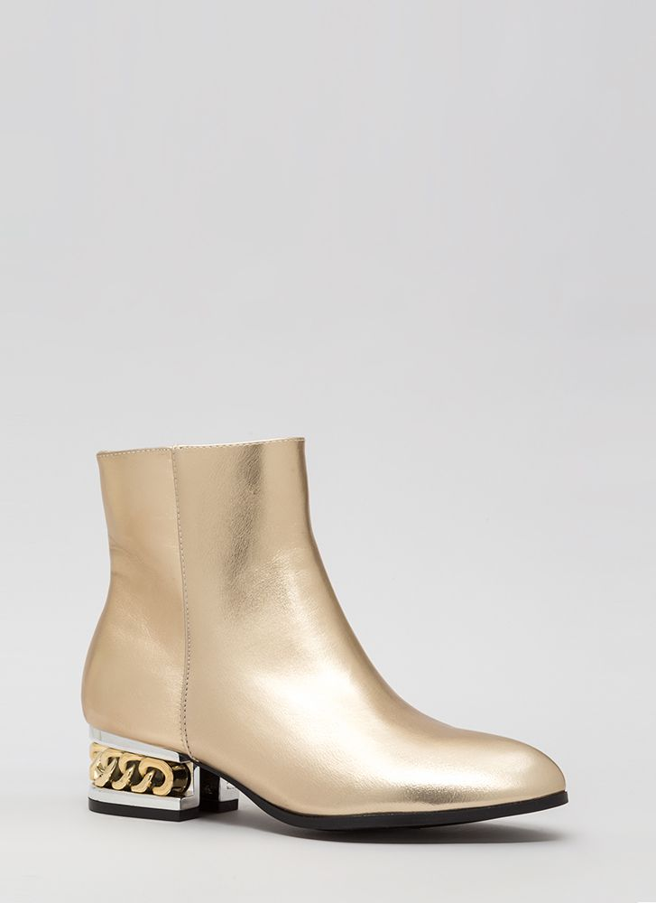 Aboard The Hype Chain Metallic Booties GOLD