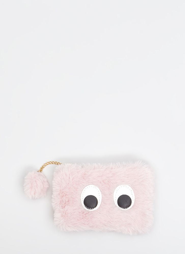 Looky Here Faux Fur Eye Patch Wallet PINK (Final Sale)