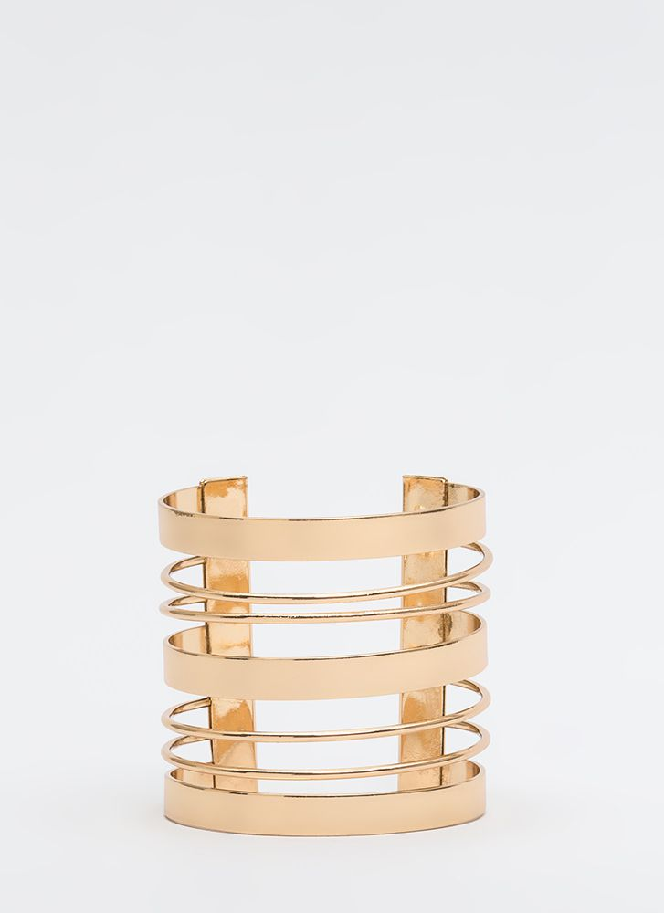 Making The Bands Cut-Out Wire Cuff GOLD