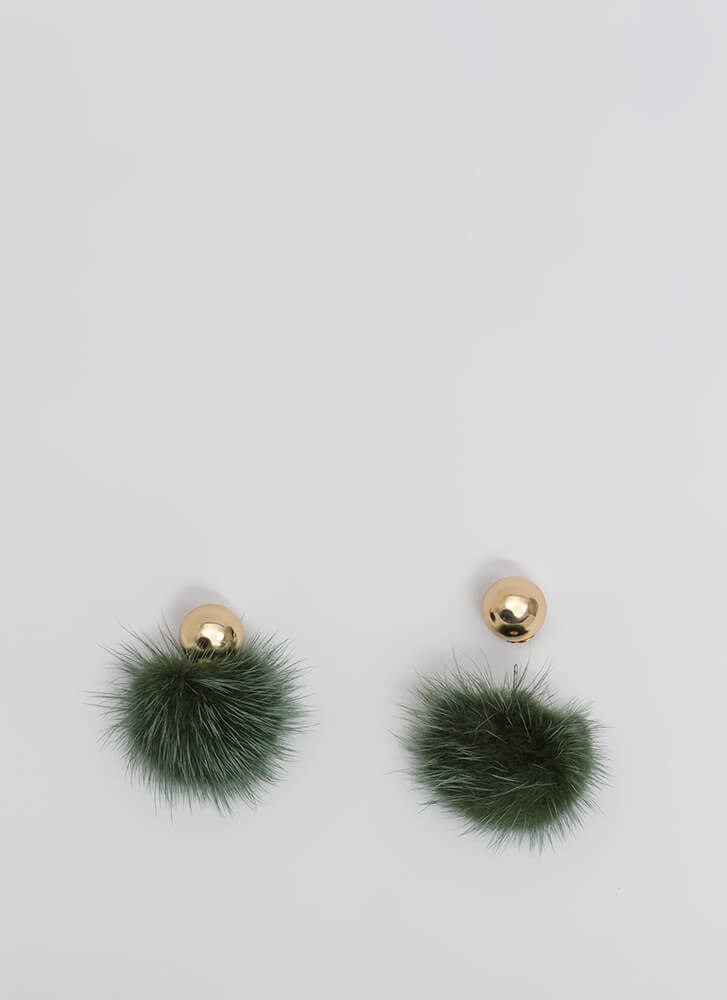 Fur Your Own Good Double-Sided Earrings OLIVE